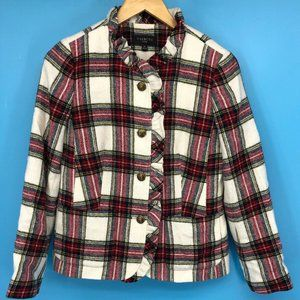 Talbots Petites Womens Jacket Red Blue Plaid Size6